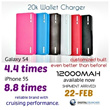 20000mah Power Bank Portable Battery Charger iPhone 5S 5C iPad Samsung Galaxy S4 Note 3 Tab WALLET