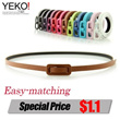 YEKO  Candy Color Thin Belt/Korean Fashion Ladys Belt/Fashion  Belt/girls belt