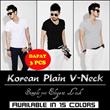 [PAKET BELI 3] Korean Plain V-Neck Tee / Short Sleeve and Long Sleeve / Kaos Polos Korea / Kaos Pria