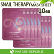 Superday CRAZY Price deal★ Popular MASK★ [Nature Republic] Snail Therapy Mask 10pcs SET