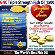72% OFF! Star Buy: GNC Triple Strength Fish Oil 1500 / 60 Softgels 30 Days Supply - Promotes Joint / Brain / Heart and Skin Health