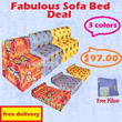 Fabulous Sofa Bed Deal. 3ft sofa bed + Free Pillow. 3 colours available. (Orange/Blue/Yellow) Free Delivery