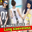 ★Long sleeveless/ Korean and Japanese Trend Fashion / Sleeveless dress / Korea style Short sleeve T-shirt