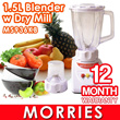 [Limited Sets Sale] Blender with Dry Mill. Morries 1.5 Litres.  Model: MS936KB. 1 Year Warranty. 14 Days Faulty Exchange