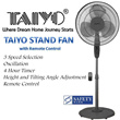 Taiyo 16 Inch Stand Fan FS2R - Black - Group Buy Special