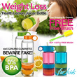 New Slimming Weight Loss Health Water Bottle Lemon Fruits Vitality Manual Juicer Cup Bottle-Kids Bottle and Stickers Arrival-No BPA-Buy 1 Get 1 Free Brush