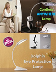 Creative Modern Dolphin LED Eye Protection Lamp Reading Light Powered by USB* Cordless Anywhere Lamp* 16 LED Bright Light Sofa Portable* No Cords No Wire No Tripping* Great for Students and Office*