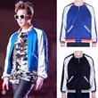 メンズファッション BIGBANGのG-dragon と同型ジャケット ショート丈 長袖アウター シルクの光沢感 野球服 コート 定番カラーミックス ブラック×ホワイト ブルー×ホワイト
