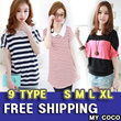 No.1 Bestseller Free shipping T-shirts  Summer 2014 new best price new version of large size women loose bat sleeve stitching stripe print short-sleeved T-shirt best of best