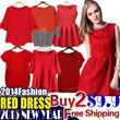 【Buy 2 Free Shipping】Plus Size 2015 New Years Red Dress 120 Design【Lowest Price Guarantee High Quality】