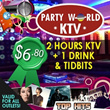$6.80 Nett Per Pax for 2 Hours of KTV Sessions + 1 Drink + Tidbits at Partyworld (Worth $33.90)