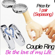 Fashion Couple Ring **Alloy Faux Crystal For Lovers **The New Hot Lover Ring Free Shipping