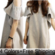 【Free Shipping】2014 New Fashion Korean High Quality Off-shoulder Flouncing Sleeve Loose Fit Dress