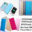 ★Hot sell★Ultra Thin Slim Dual USB 20000mah 50000mah 80000mah power bank portable charger external Battery mobile phone charger Backup power bank For samsung S5 I9600 S4 I9500 S3 note  iphone 5 5s