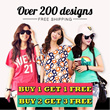 【Buy 1 Get 1 Free~Buy 2 Get 3 Free】100 Designs!  Nett Price 2014 Women T-Shirt Blouse Loose Fit Dress Plus Size Dress Plus Size Blouse