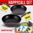 55% OFF[FREE GIFT]HAPPYCALL Diamond DNC Anti Lengket WOK dan FRYING PAN + dua hadiah besar KNIFE SET+GLASS CUTTING BOARD_shipping 6kg