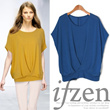 {★ifzen★}  casual short sleeve blouse/casual T-shirts/beads decoration/loose fit/plus size/dress