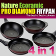 [In Singapore]Pro Diamond Ecoramic Frypan 4pcs + 1pcs glass lid 1SET / DIAMOND /FRYPAN /household / KITCHEN WARE