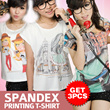 [PAKET 3 PCS] WOMEN KOREAN T-SHIRT SPANDEX FULL PRINT / GOOD PRICE! / LIMITED STOCK / KAOS WANITA / BAJU WANITA