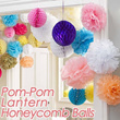 POM POM/Lantern/Honeycomb.Wedding.Paper Flower Tissue Ball.ROM.Birthday Party.Bridal Shower.Proposal.Pompom DIY Decorations.Party/Room/Home Deco. Baby Moon Decor.Dessert Candy Table