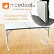 120 x 60 cm Portable  Foldable Aluminium Table – Lightweight  Comes with Carrying Handle