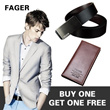 【Feger 】1+1 Super valuable prize Mens leather belt and wallet/Buy 1 Get 1 Free/Japanese and Korean style/Worthwhile/Brilliant choice/Buy it right now