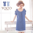 YOCO - Bare-Shouldered Plaid Denim Dress With Bow Detail-4011642