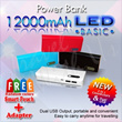 Power Bank LED BASIC 12000mAh For All Device Apple/BlackBerry/Android Free smart pouch dan adaptor
