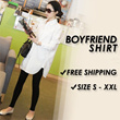 [FREE SHIPPING] Ladies Oversized Boyfriend Shirt Blouse Tunic Plus Size Top