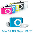 Free Shipping Colorful 32GB MP3 Player Media Mini with Clip Fashoin Metal USB TF Earphone