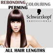 Choice of Rebonding / Perming / Colouring. For ALL HAIR LENGTHS.