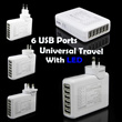 Universal Adaptor Charger USB 6 Ports AC with LED
