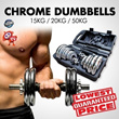 [CHEAPEST!!] LIMITED TIME PROMOTION / CHROME DUMBBELL SET 15KG 20KG 50KG (GET BULK AT HOME)