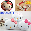12000mah 8000mAh 6000mah Cute Free Gift! hello kitty KT External Backup Battery Charger Portable Mobile Power Bank for Galaxy S4 Note3 iPhone5s