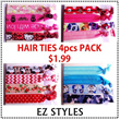 Hair Ties Christmas 4pcs Gift Pack Hair Rubber Bands
