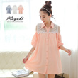 MAYUKI - Two-Tone Bare-Shouldered Crochet Long Shirt-4012148