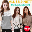 ALL At $8.9 Nett New summer autumn winter comfort lace chiffon cotton Dress/Top/Blouse/Cardigan/Legging