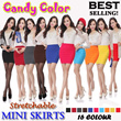 【Crazy sales】Stretchable candy color skirts/Short skirts/A-lineskirt/Miniskirt/one-step skirt