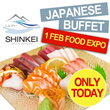 [1 FEB FOOD EXPO] LAST ROUND! $22.80 NETT PRICE. A La Carte Japanese Lunch Buffet by Shinkei Japanese Restaurant. Conveniently located at Toa Payoh Town Centre.