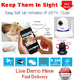 HD 720p Wireless CCTV Easy Setup Monitor Home Store Office Security Kid Baby Old Folk Motion Detect Night Vision Live View On Phones Tablets PC