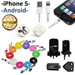 iPhone 5 4s 4g 4 lightning cable earpiece flat micro usb adapter charger samsung S2 S3 S4 Note 2