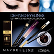 Paris Cosmetics Maybelline - Eye Liner Collection Waterproof/ Smoky Black/ Luminizer Blue Black Hazel Eyes/ Liquid Hot Pink Khaki!