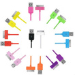 General USB Data Sync Charger Chargering Cable for iPhone 4/4S 5/5S Samsung S3 S4 Note2 Note3 Micro USB for Android Phone iPad Tablet PC