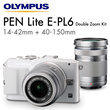 [Olympus]Olympus PEN E-PL6 Dual Lens Sliver Kit 14-42mm  + 40-150mm Lens *FREE: 2X 8GB SD and Case *Olympus Singapore Warranty*