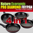 ★Pro Diamond Ecoramic Frypan 4pcs + 1pcs glass lid 1SET★ / DIAMOND /FRYPAN /household / KITCHEN WARE/