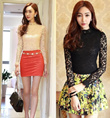 Long-Sleeved Lace High Collar Slim shirt (two color)