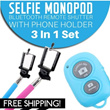 [Malaysia Seller - FREE SHIPPING]3 in 1 set of Selfie Monopod + New Bluetooth Remote Shutter + Phone Holder. Cheapest in Malaysia.