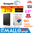 Seagate 2TB Backup Plus 2.5inch Portable External Hard Disk Drive HDD - 3 Years Warranty - No Power Required