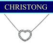 Christong Jewellery 18k/750 White Gold Heart Shape Diamond Necklace 20 Pcs Diamond Total Weight : 0.16ct.