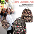 【M18】Cow Leather Women's bag/ Trendy and fashionable cowhide backpack/ modern black pack collection/handbag with floral patterns